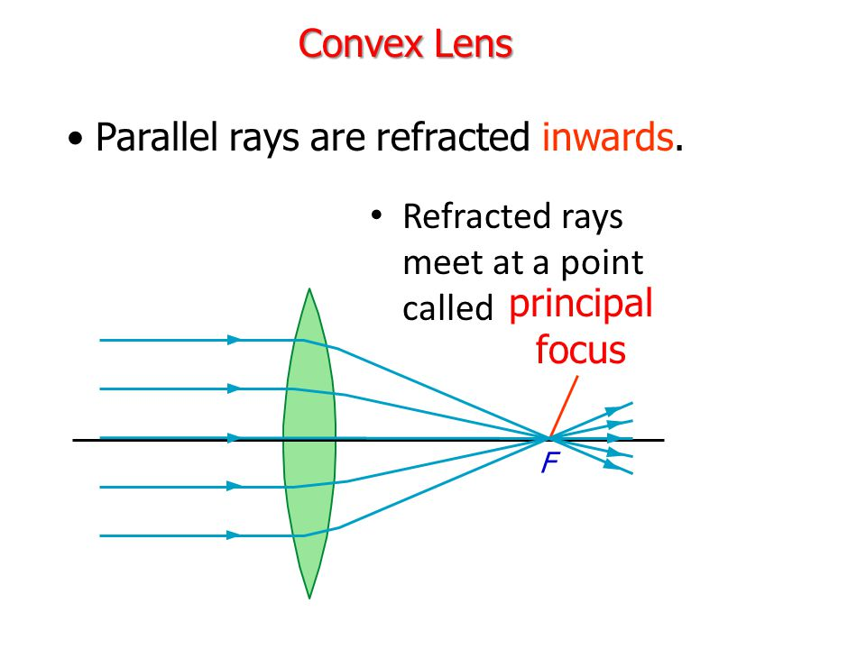 Parallel rays are refracted inwards.