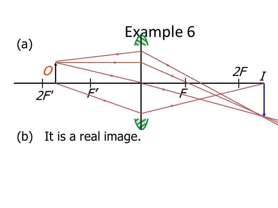 Example 6 (a) O 2F I F'' F 2F (b) It is a real image.