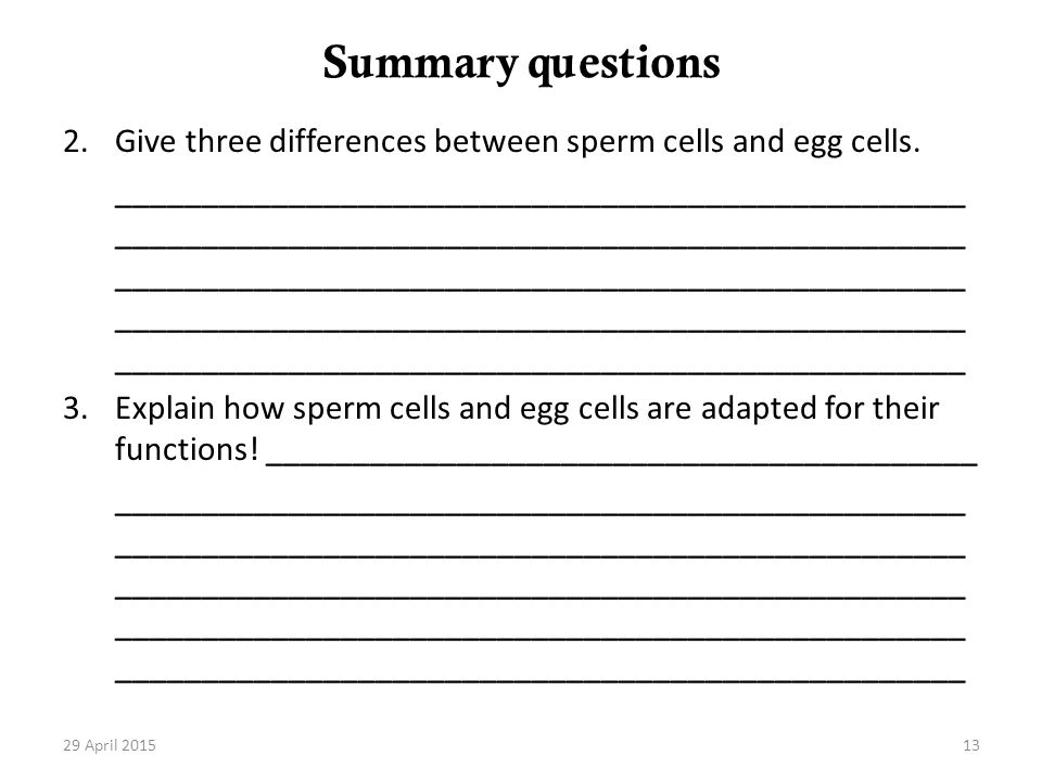 Summary questions Give three differences between sperm cells and egg cells.