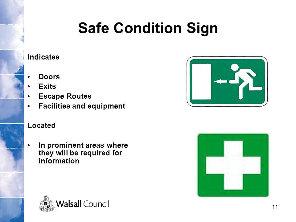 Safe Condition Sign Indicates Doors Exits Escape Routes