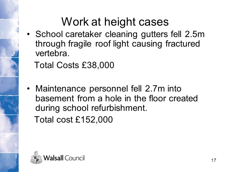Work at height cases School caretaker cleaning gutters fell 2.5m through fragile roof light causing fractured vertebra.