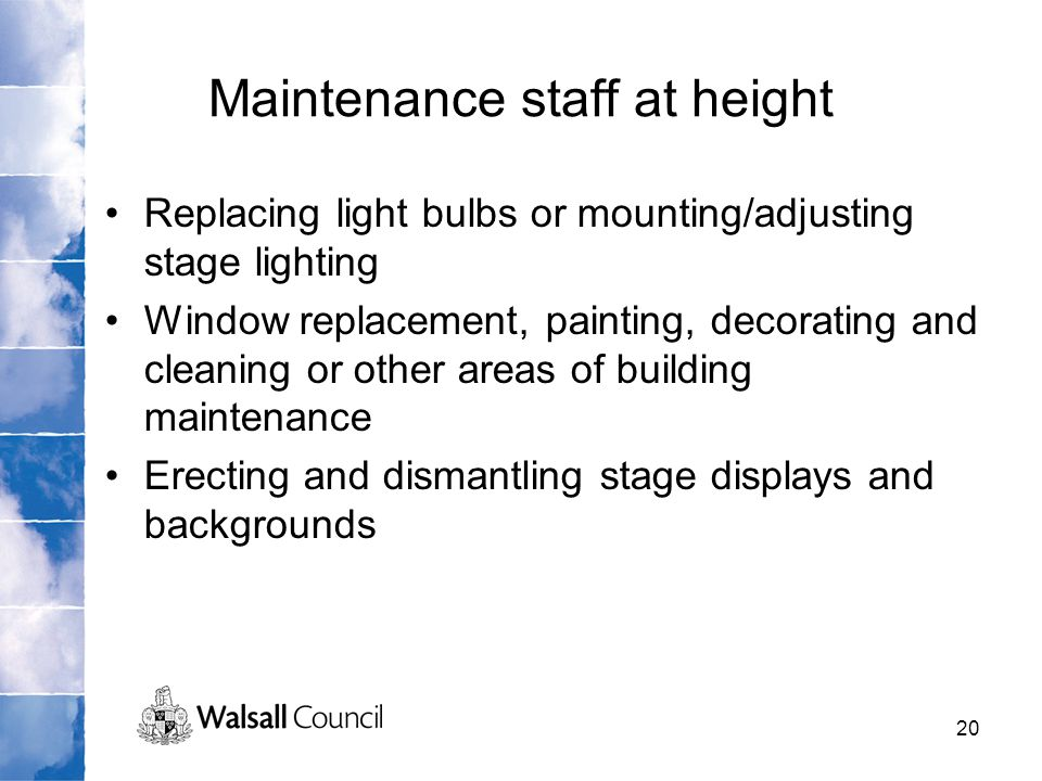 Maintenance staff at height