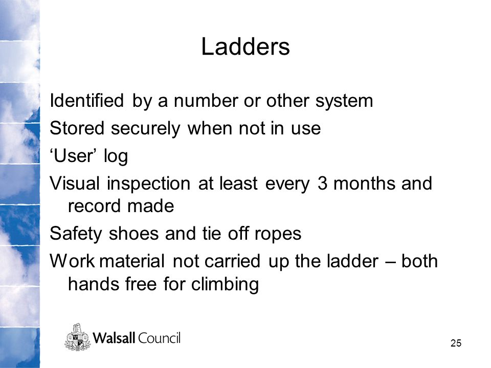 Ladders Identified by a number or other system