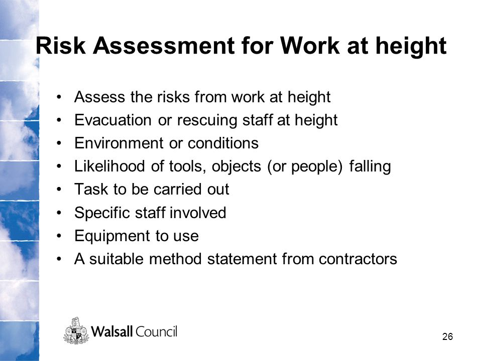 Risk Assessment for Work at height