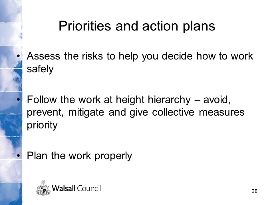 Priorities and action plans