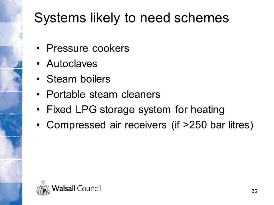 Systems likely to need schemes