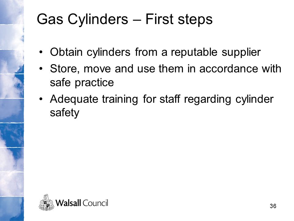 Gas Cylinders – First steps