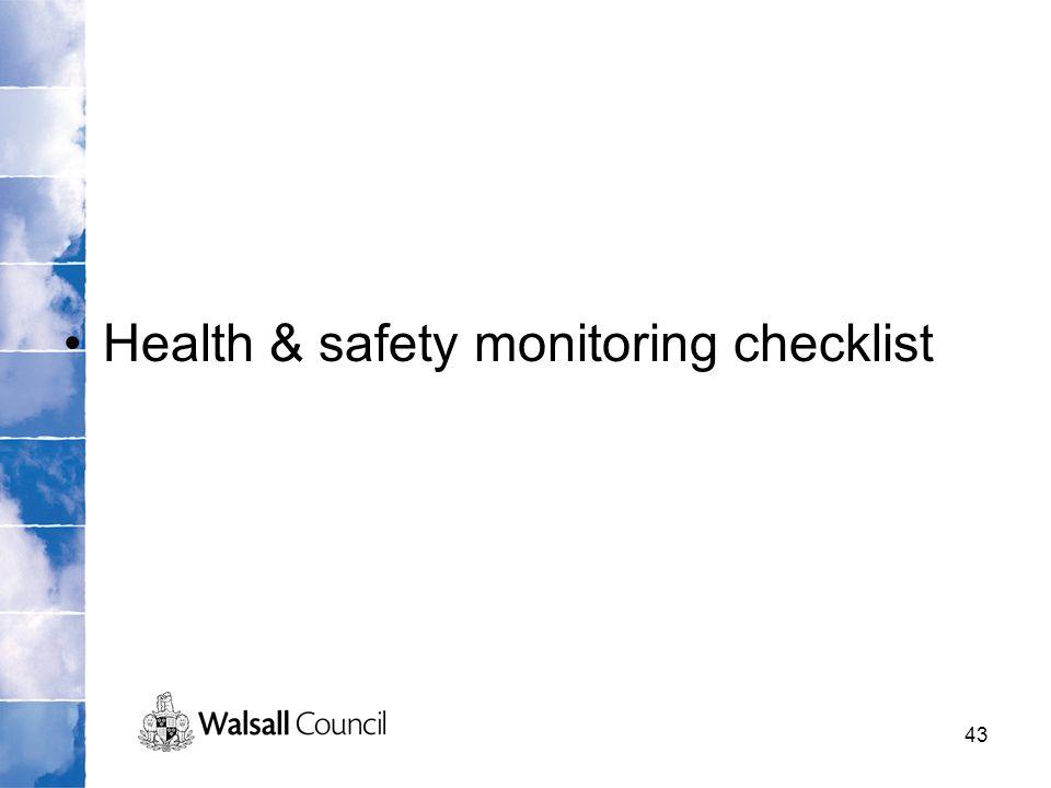 Health & safety monitoring checklist