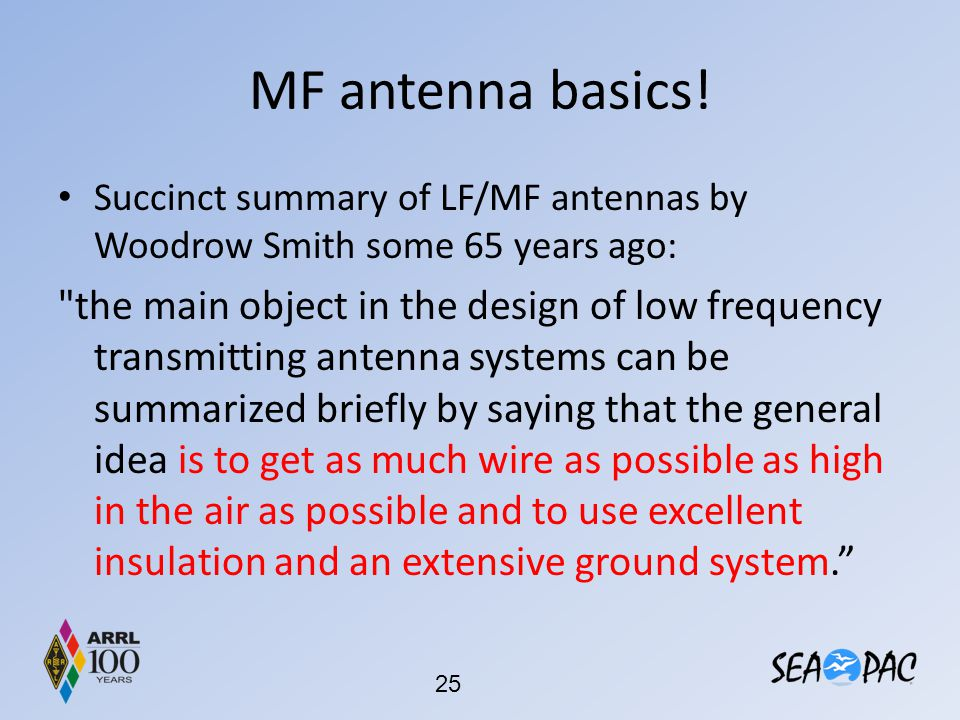 MF antenna basics! Succinct summary of LF/MF antennas by Woodrow Smith some 65 years ago: