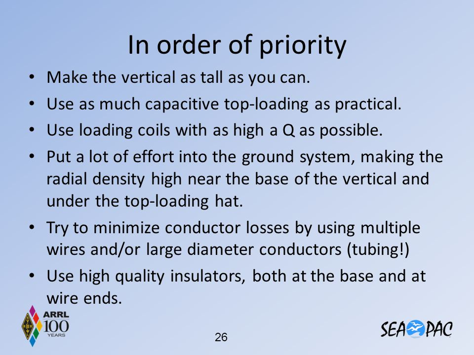 In order of priority Make the vertical as tall as you can.