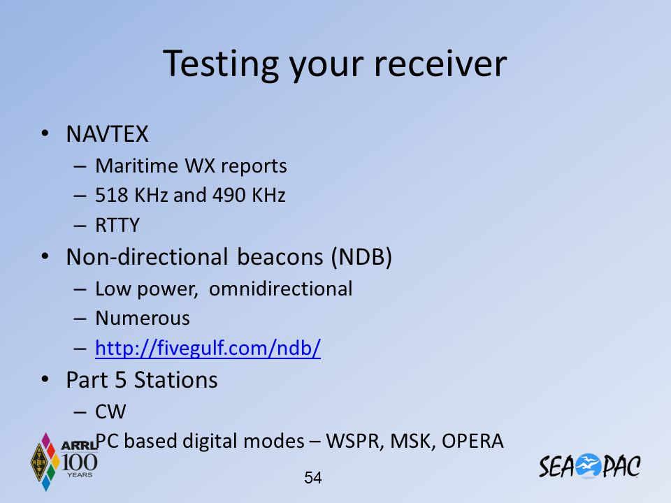 Testing your receiver NAVTEX Non-directional beacons (NDB)