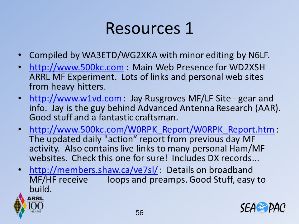 Resources 1 Compiled by WA3ETD/WG2XKA with minor editing by N6LF.