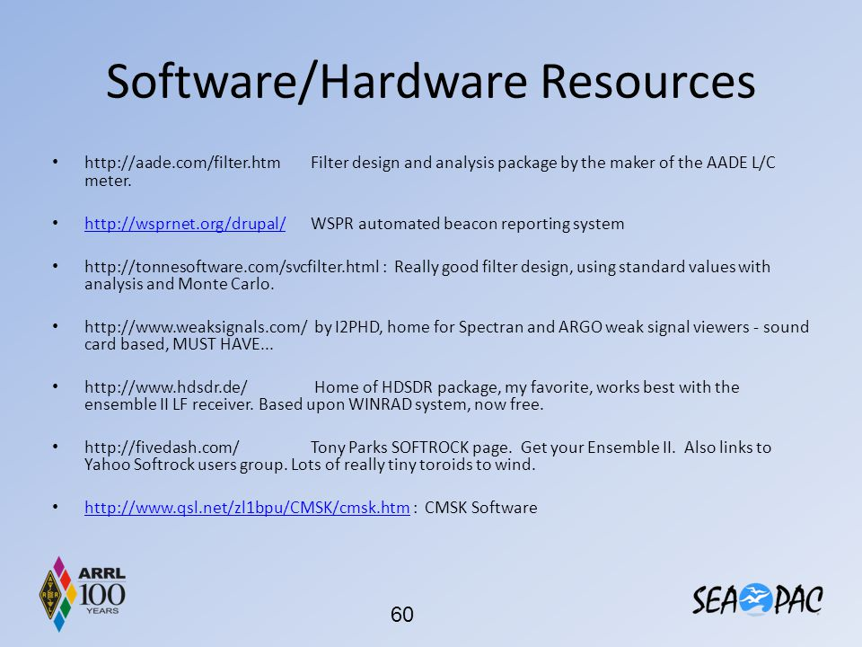 Software/Hardware Resources