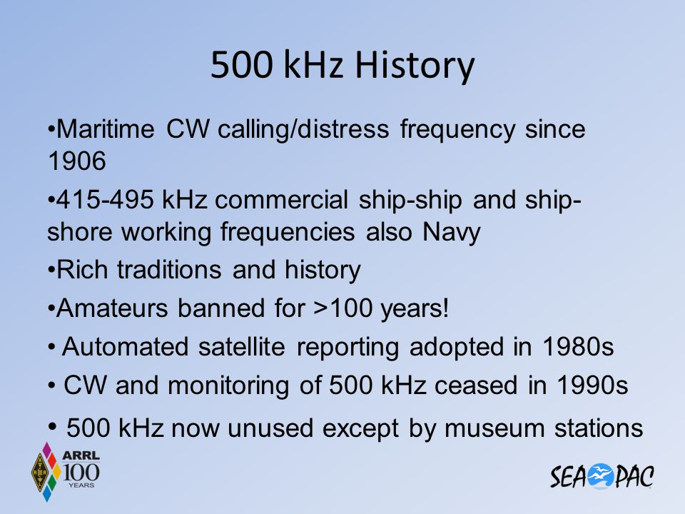 500 kHz History 500 kHz now unused except by museum stations