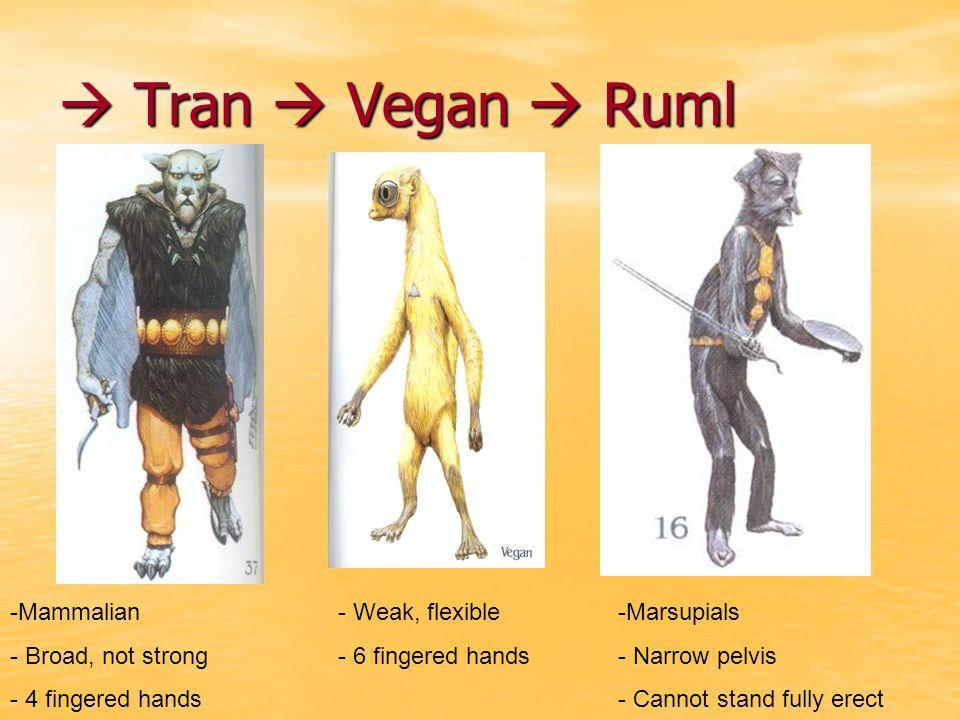  Tran  Vegan  Ruml Mammalian Broad, not strong 4 fingered hands