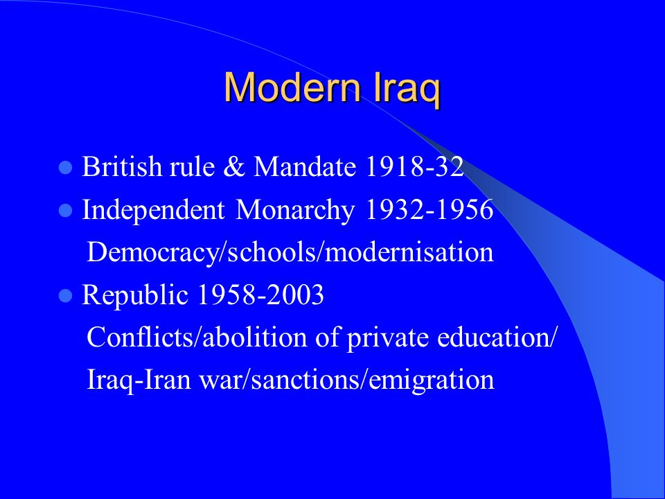 Modern Iraq British rule & Mandate 1918-32