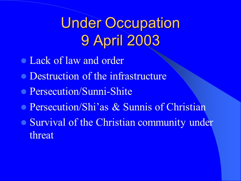 Under Occupation 9 April 2003