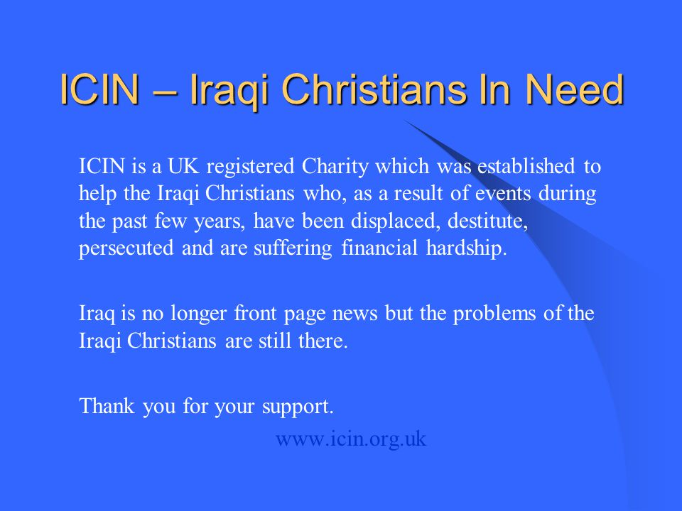 ICIN – Iraqi Christians In Need