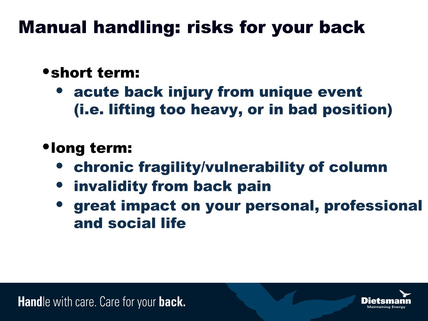 Manual handling: risks for your back