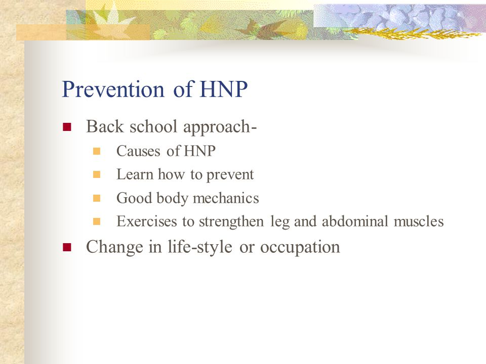 Prevention of HNP Back school approach-