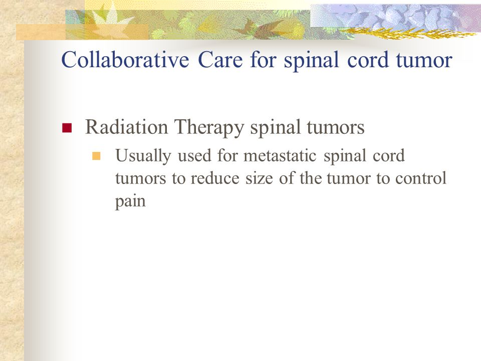 Collaborative Care for spinal cord tumor