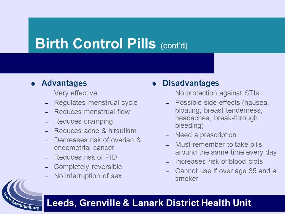 Birth Control Pills (cont'd)