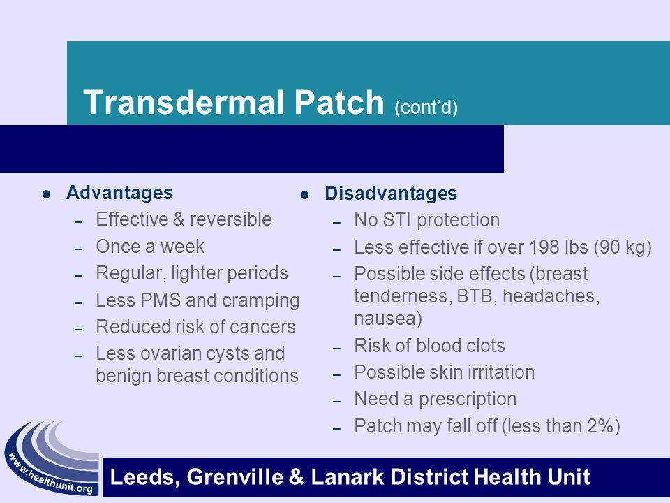 Transdermal Patch (cont'd)