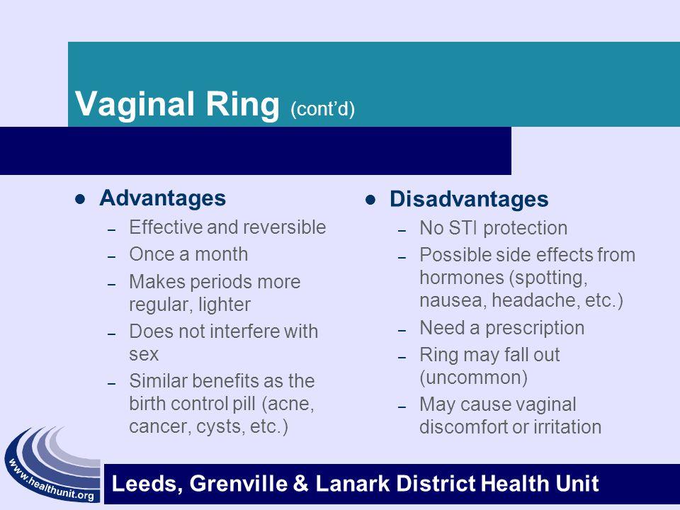 Vaginal Ring (cont'd) Advantages Disadvantages