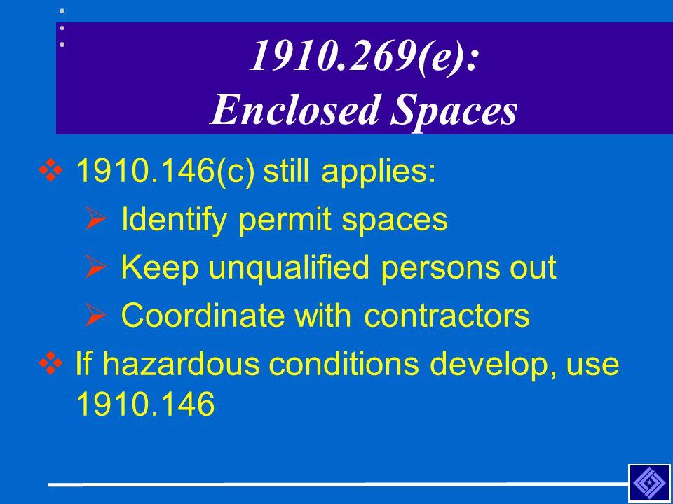 1910.269(e): Enclosed Spaces 1910.146(c) still applies: