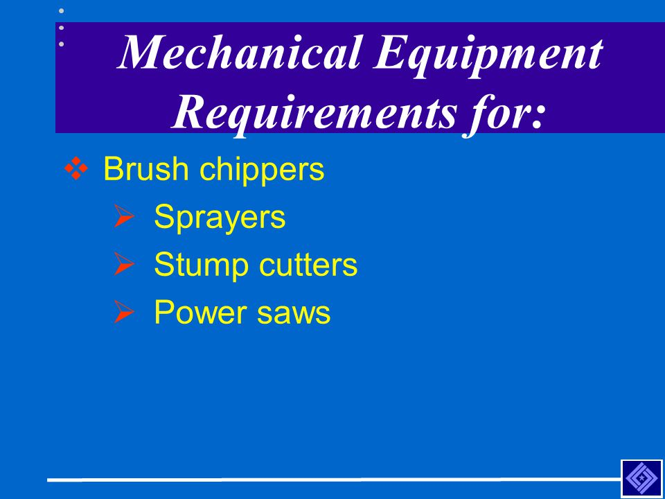 Mechanical Equipment Requirements for: