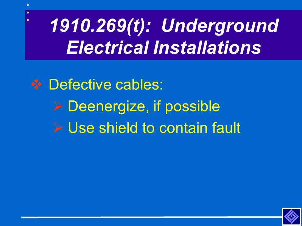 1910.269(t): Underground Electrical Installations