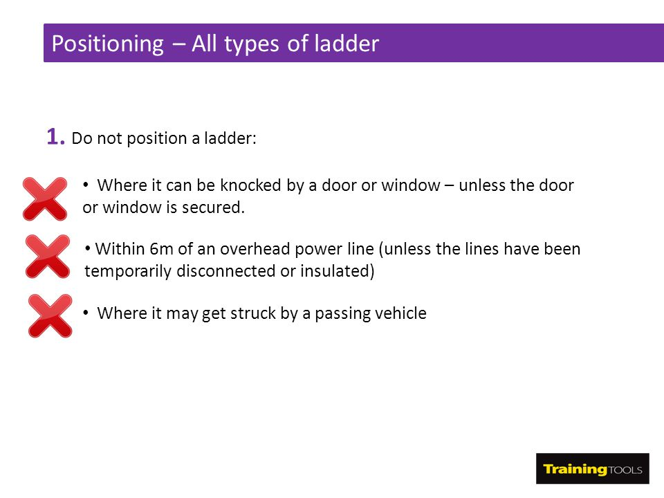 Positioning – All types of ladder