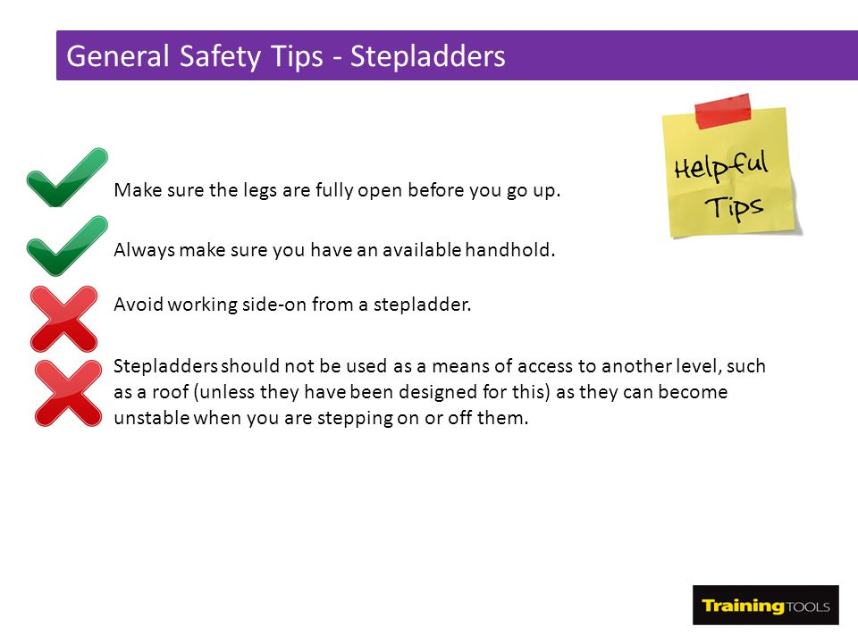 General Safety Tips - Stepladders