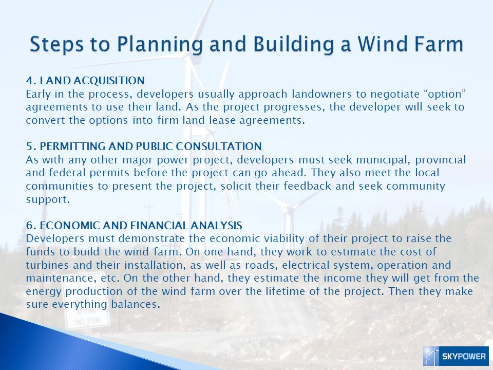 Steps to Planning and Building a Wind Farm