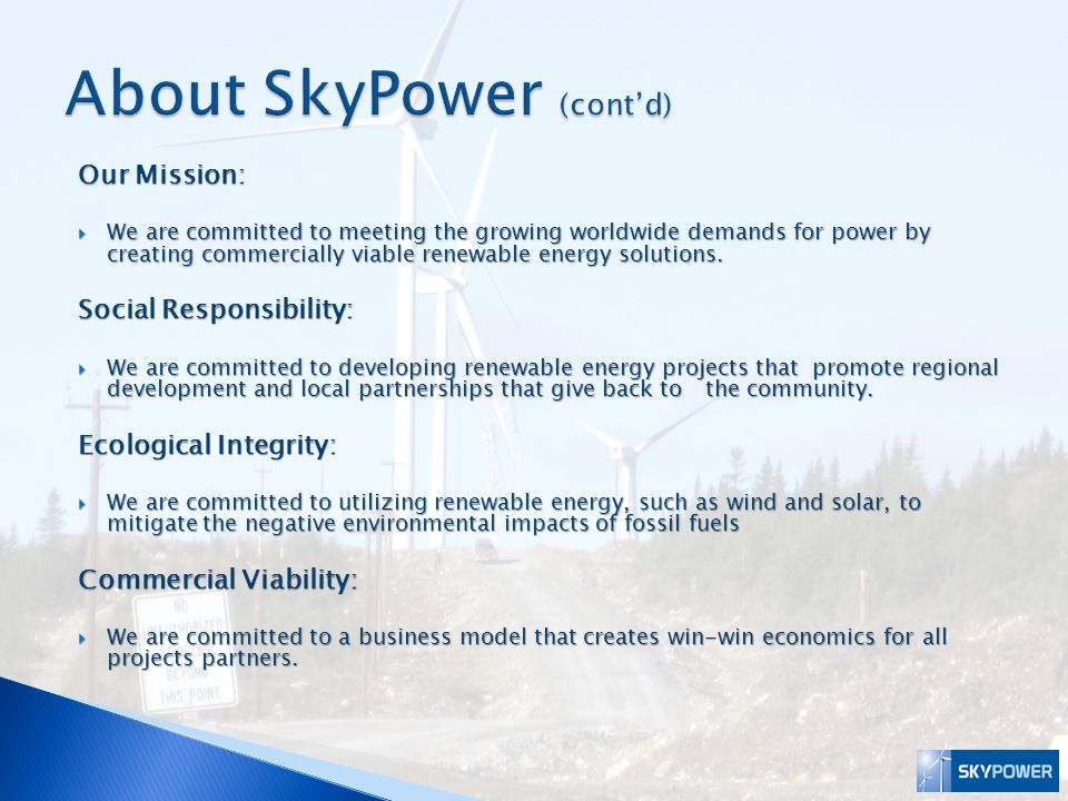 About SkyPower (cont'd)