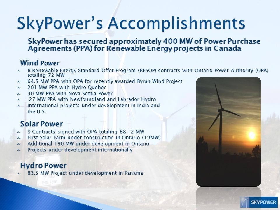SkyPower's Accomplishments