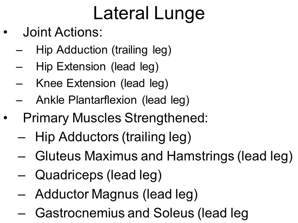 Lateral Lunge Joint Actions: Primary Muscles Strengthened: