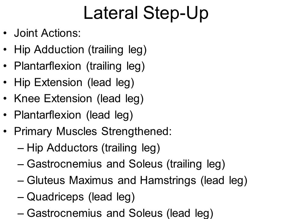 Lateral Step-Up Joint Actions: Hip Adduction (trailing leg)