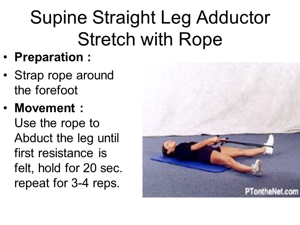 Supine Straight Leg Adductor Stretch with Rope
