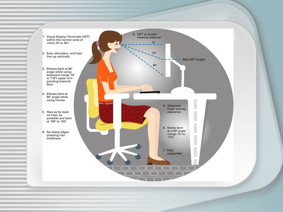 An example of sitting and typing posture.