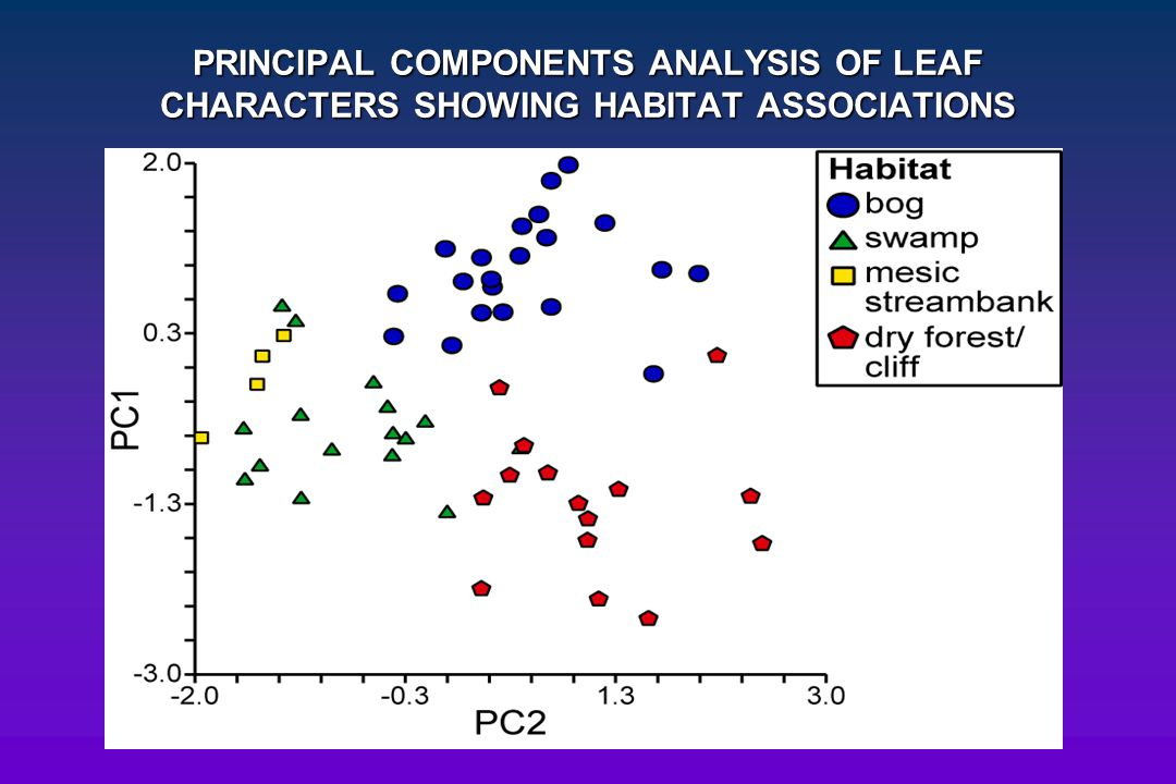 PRINCIPAL COMPONENTS ANALYSIS OF LEAF CHARACTERS SHOWING HABITAT ASSOCIATIONS