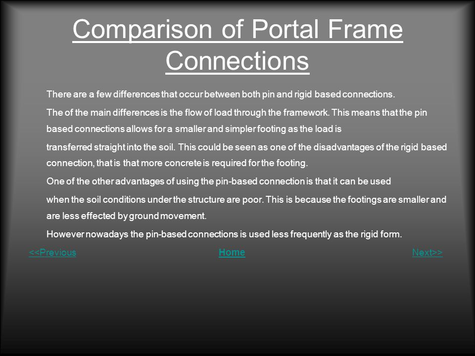 Comparison of Portal Frame Connections