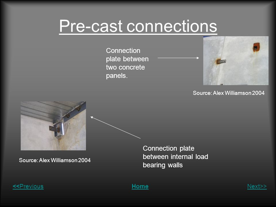 Pre-cast connections Connection plate between two concrete panels.