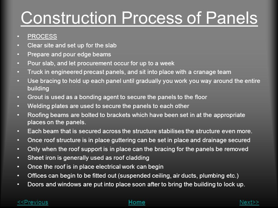 Construction Process of Panels