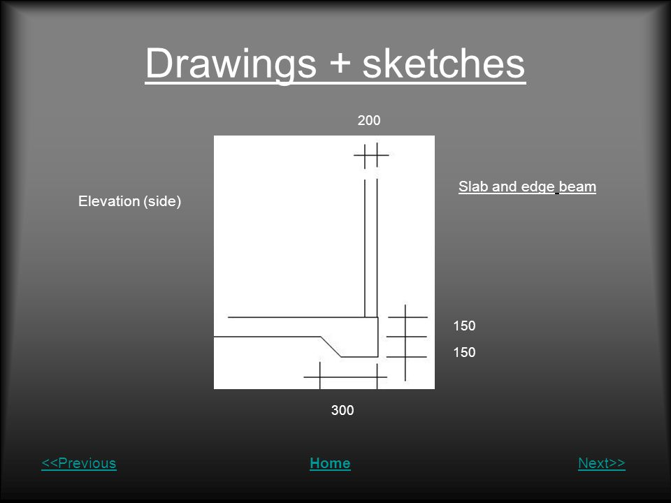 Drawings + sketches Slab and edge beam Elevation (side)