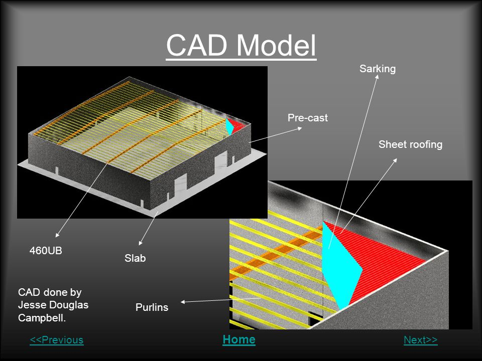 CAD Model Sarking Pre-cast Sheet roofing 460UB Slab