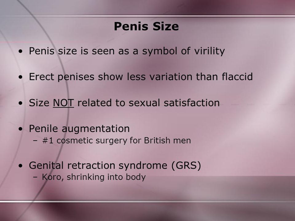 Penis Size Penis size is seen as a symbol of virility