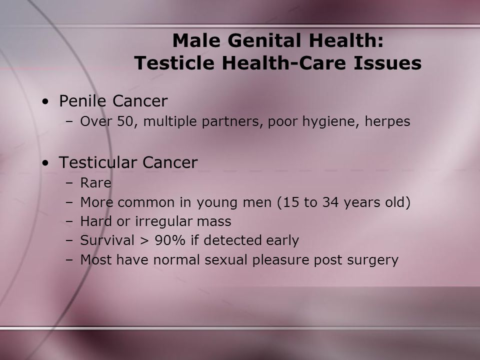 Male Genital Health: Testicle Health-Care Issues