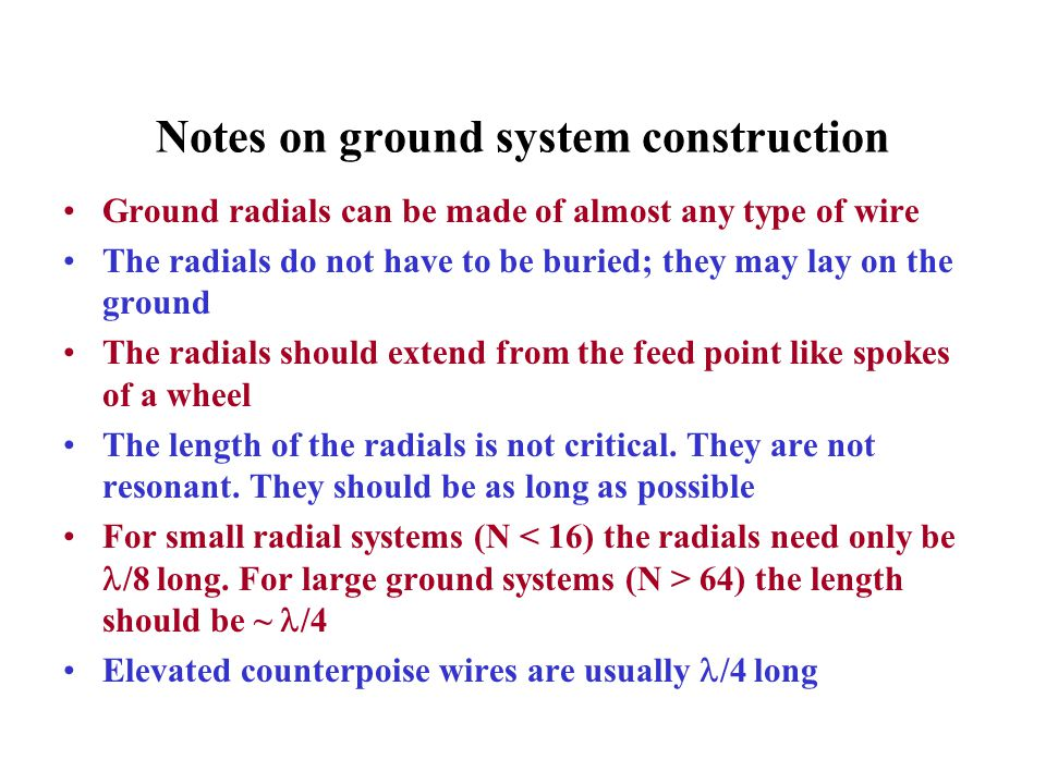Notes on ground system construction