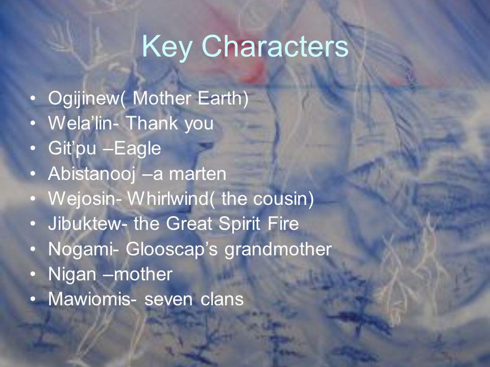 Key Characters Ogijinew( Mother Earth) Wela'lin- Thank you